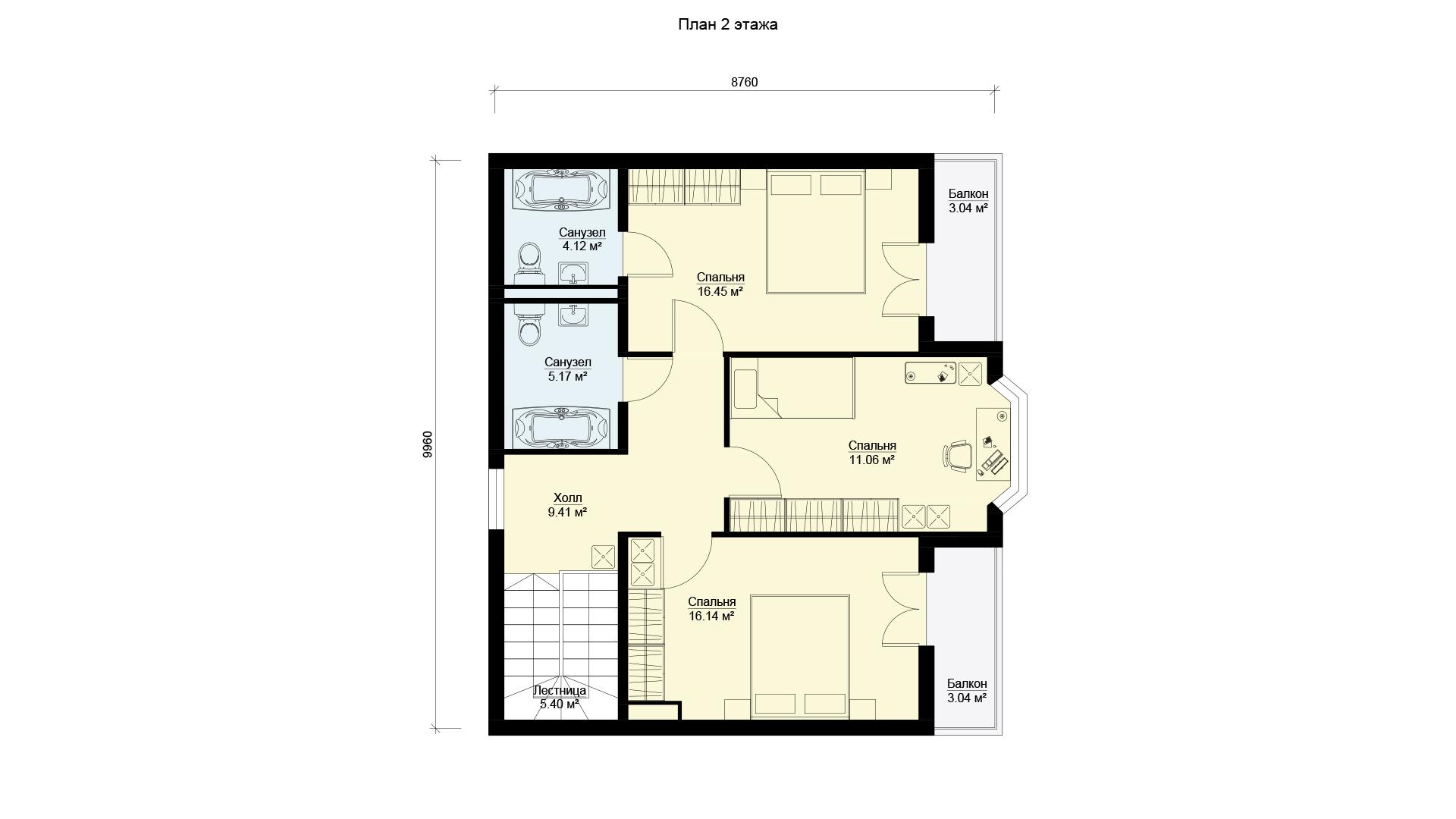 План второго этажа двухэтажного дома, проект БЭНПАН МС-164/1/К.