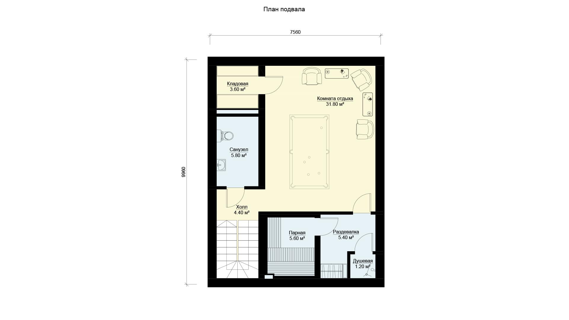 План цокольного этажа двухэтажного дома, проект БЭНПАН МС-164/1/К.