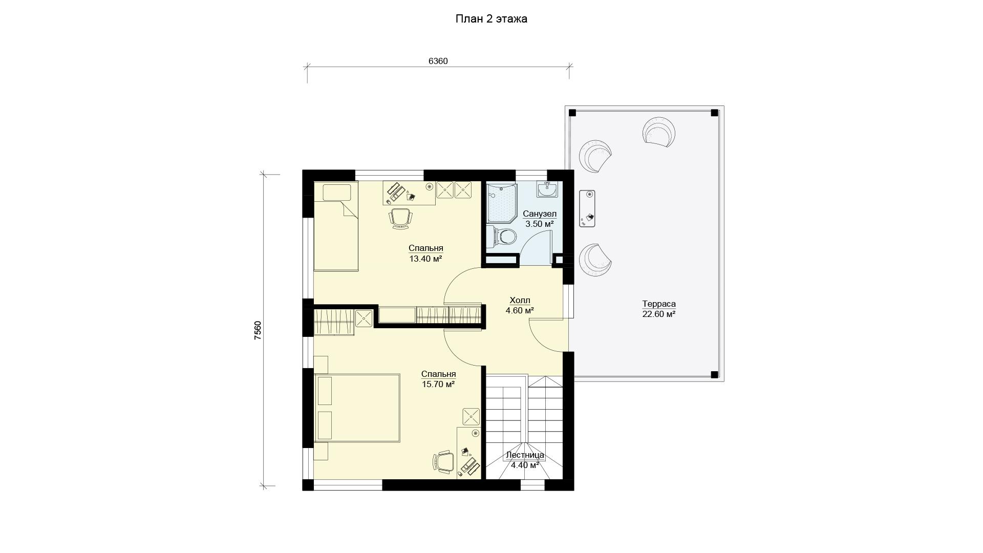 План второго этажа двухэтажного дома БЭНПАН, проект МС-176/3.