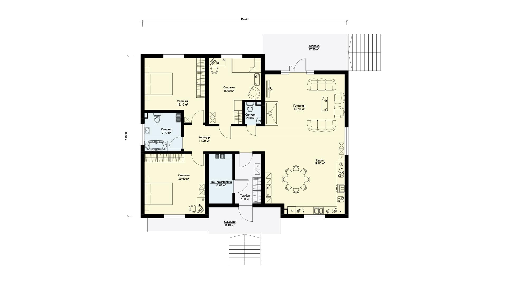 Планировка одноэтажного дома с верандой, проект БЭНПАН МС-178.