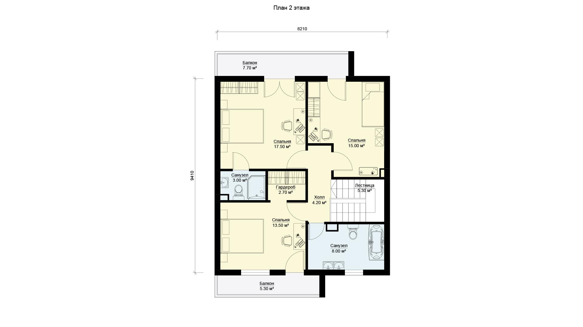 План второго этажа двухэтажного дома с балконами и террасой, проект БЭНПАН МС-181.