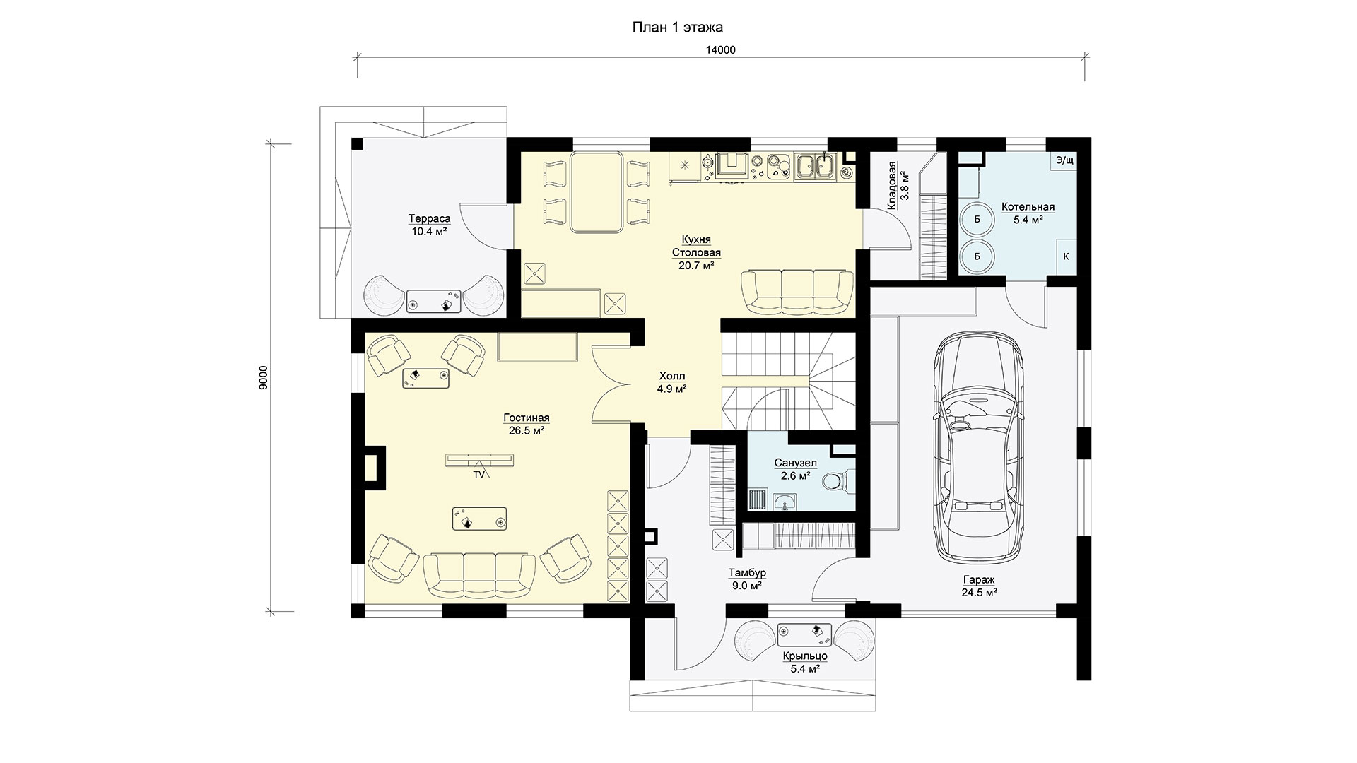 План первого этажа двухэтажного дома БЭНПАН, проект МС-189.