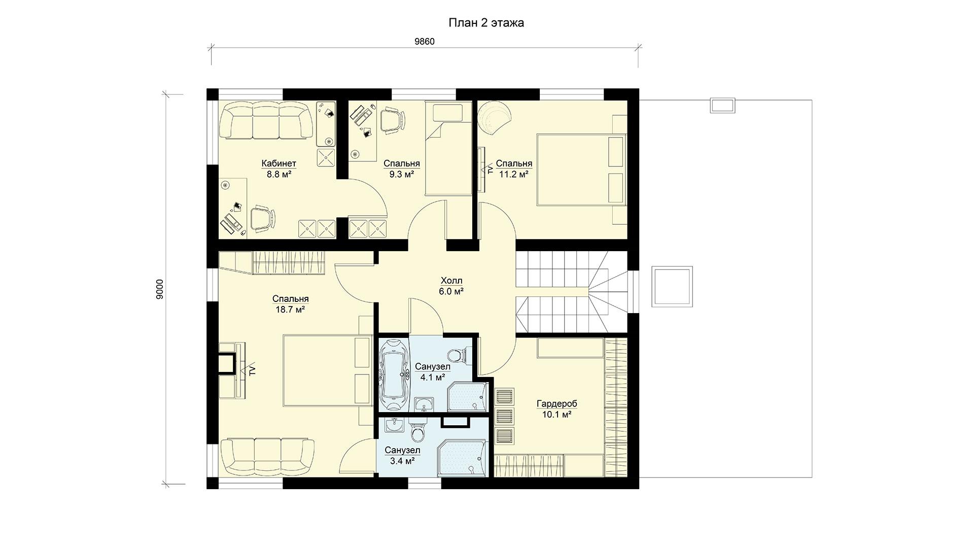План второго этажа двухэтажного дома БЭНПАН, проект МС-189.