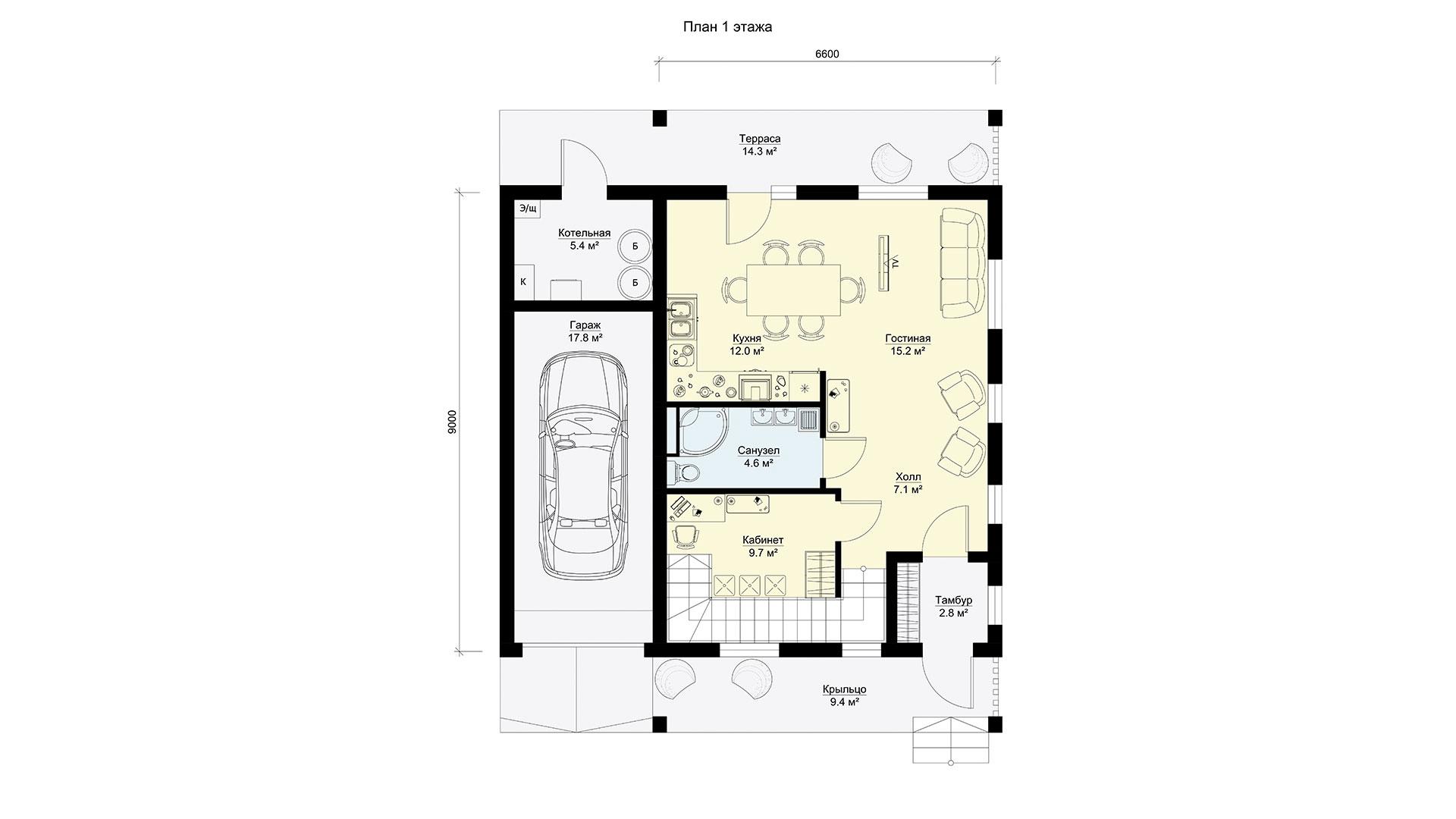 План первого этажа двухэтажного дома БЭНПАН, проект МС-195.