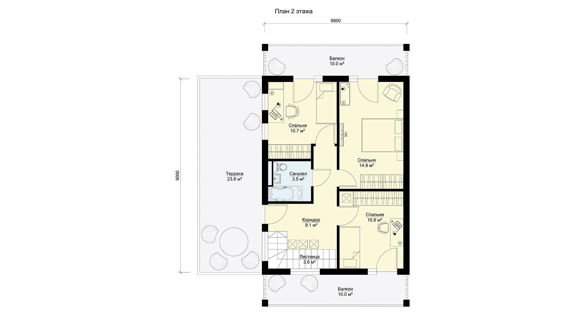 План второго этажа двухэтажного дома БЭНПАН, проект МС-195.