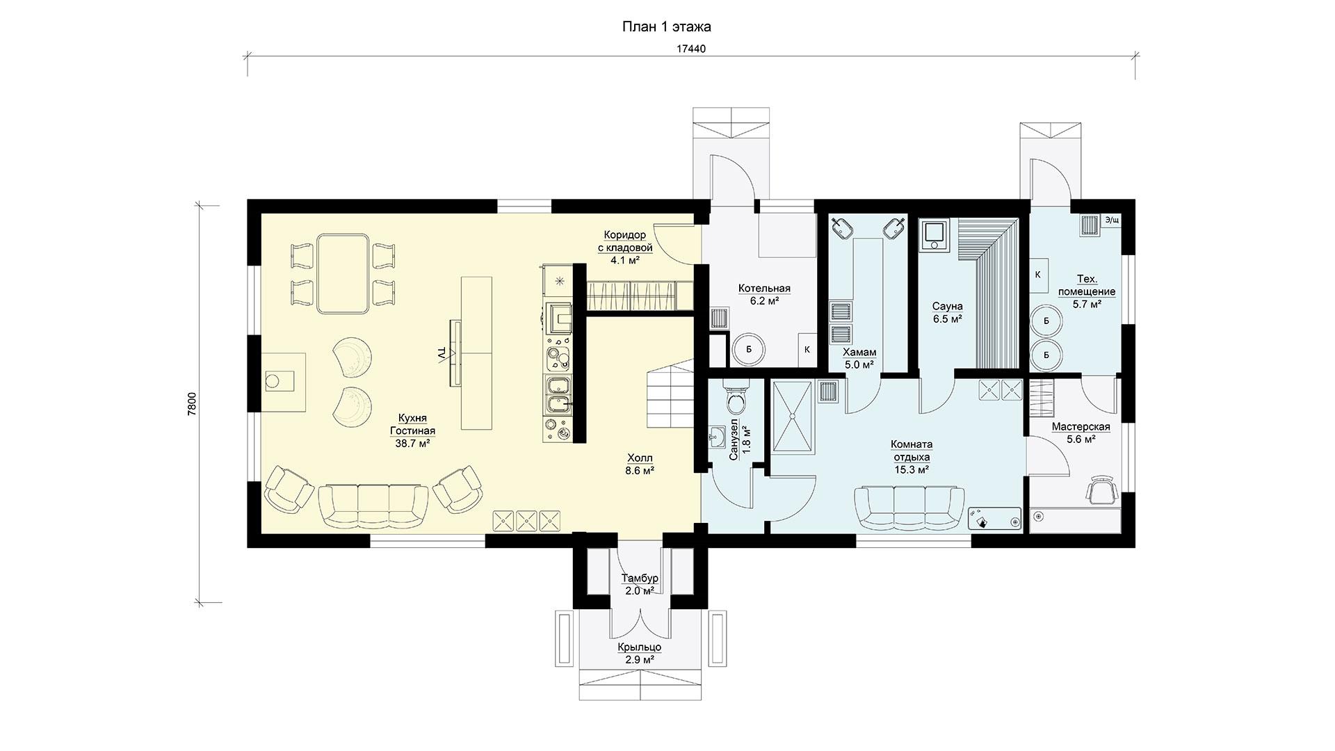 План первого этажа двухэтажного дома БЭНПАН, проект МС-200.