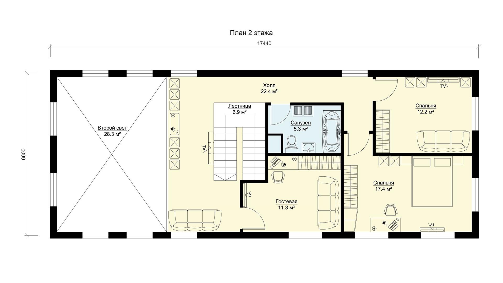 План второго этажа двухэтажного дома БЭНПАН, проект МС-200.