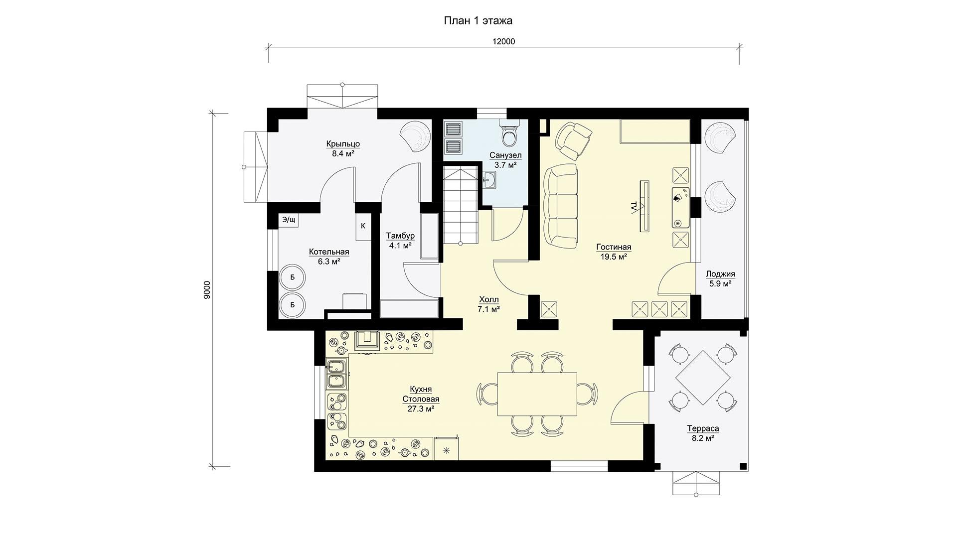 Планировка первого этажа проекта МС-202/2