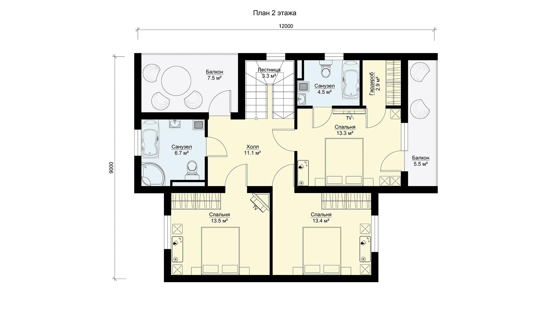 Планировка второго этажа проекта МС-202/2