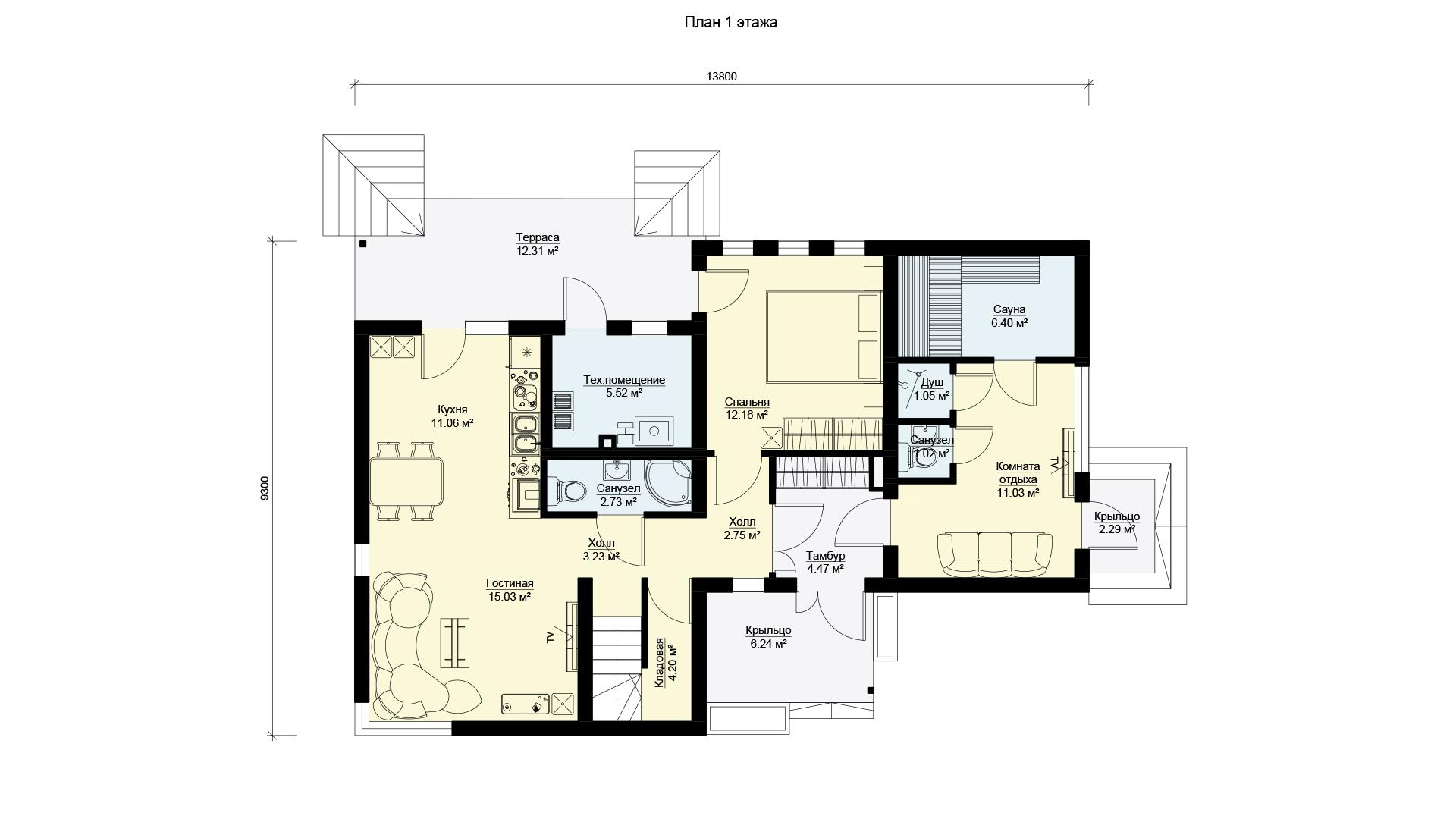 План первого этажа двухэтажного дома БЭНПАН, проект МС-224.
