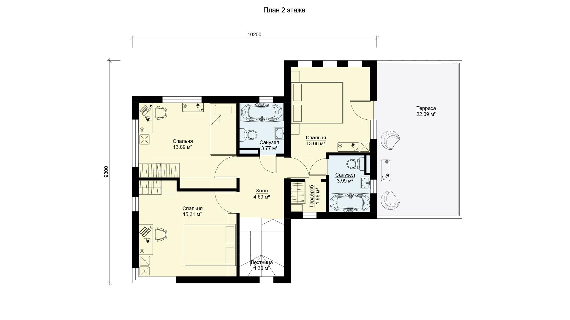 План второго этажа двухэтажного дома БЭНПАН, проект МС-224.