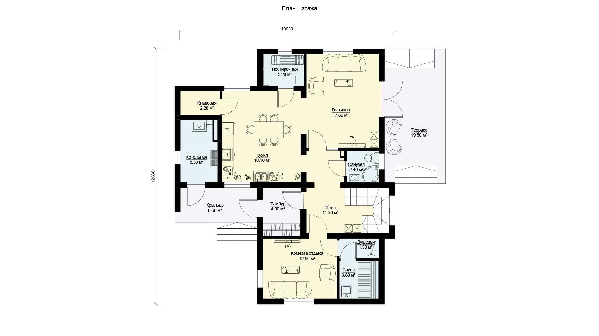 План первого этажа двухэтажного дома с террасой и балконом, проект БЭНПАН МС-238.