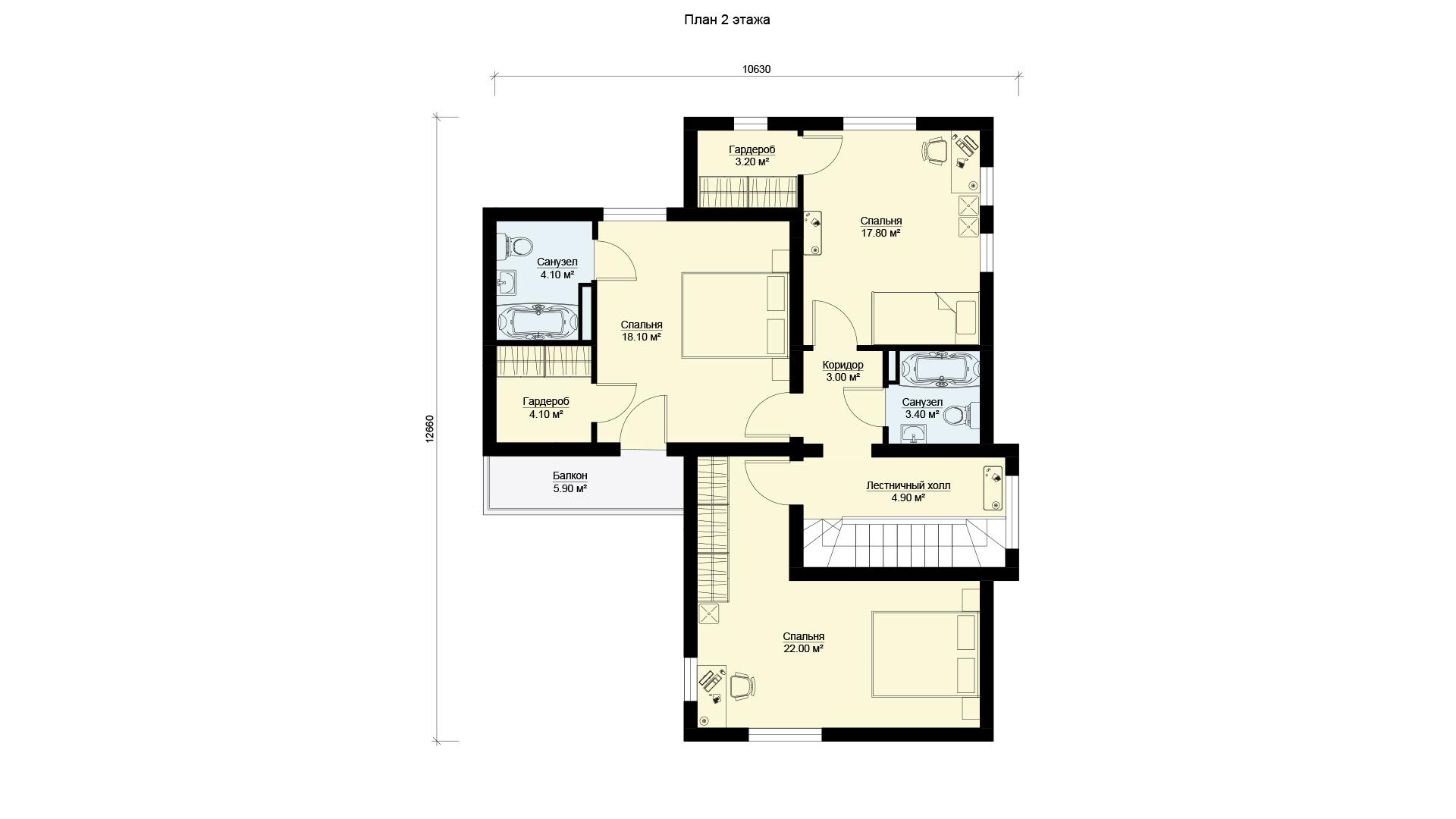 План второго этажа двухэтажного дома с террасой и балконом, проект БЭНПАН МС-238.