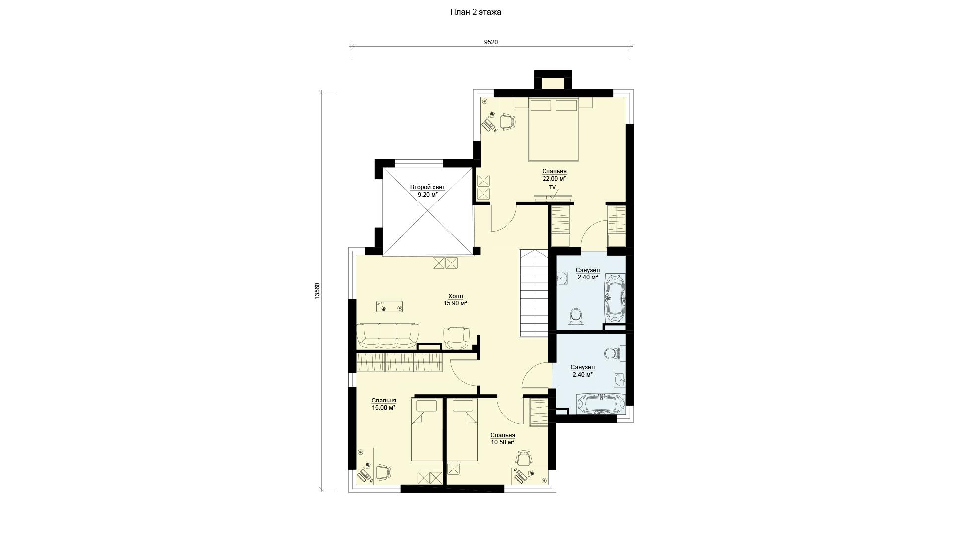 План второго этажа двухэтажного дома БЭНПАН, проект МС-239.