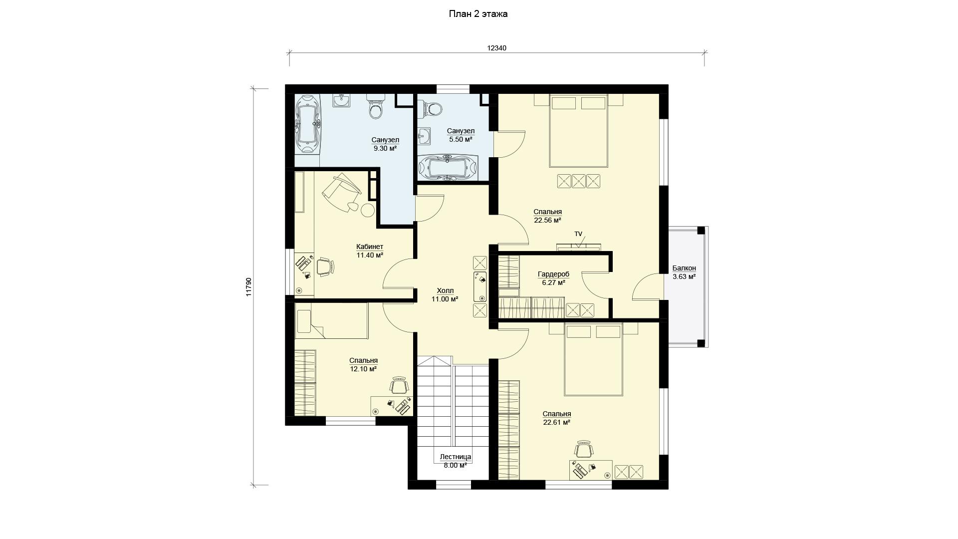 План второго этажа загородного дома 12 на 12 двухэтажного, проект БЭНПАН МС-245.