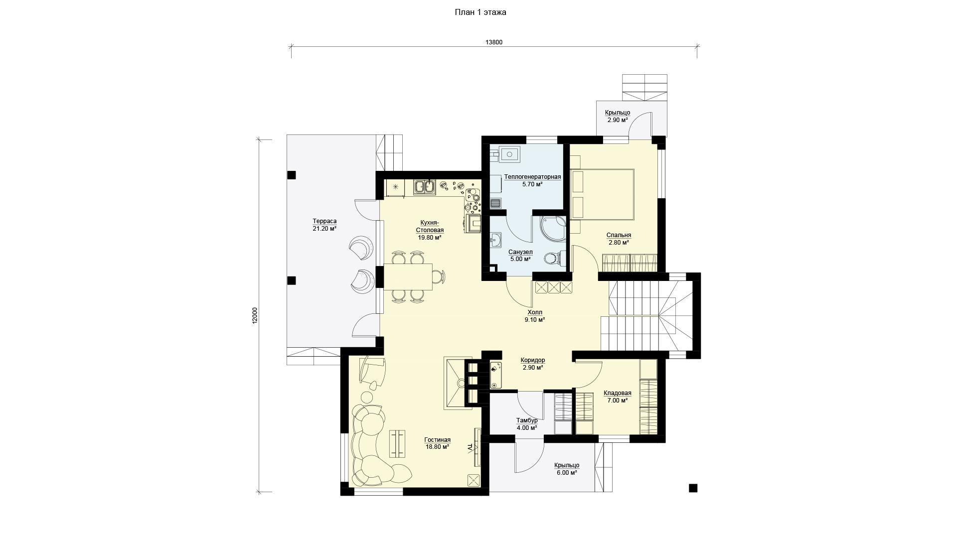 План первого этажа двухэтажного дома с эксплуатируемой крышей, проект БЭНПАН МС-247.