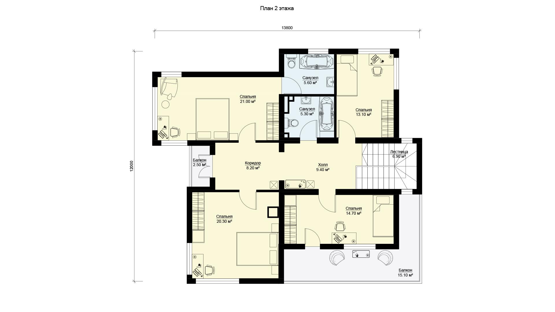 План второго этажа двухэтажного дома с эксплуатируемой крышей, проект БЭНПАН МС-247.