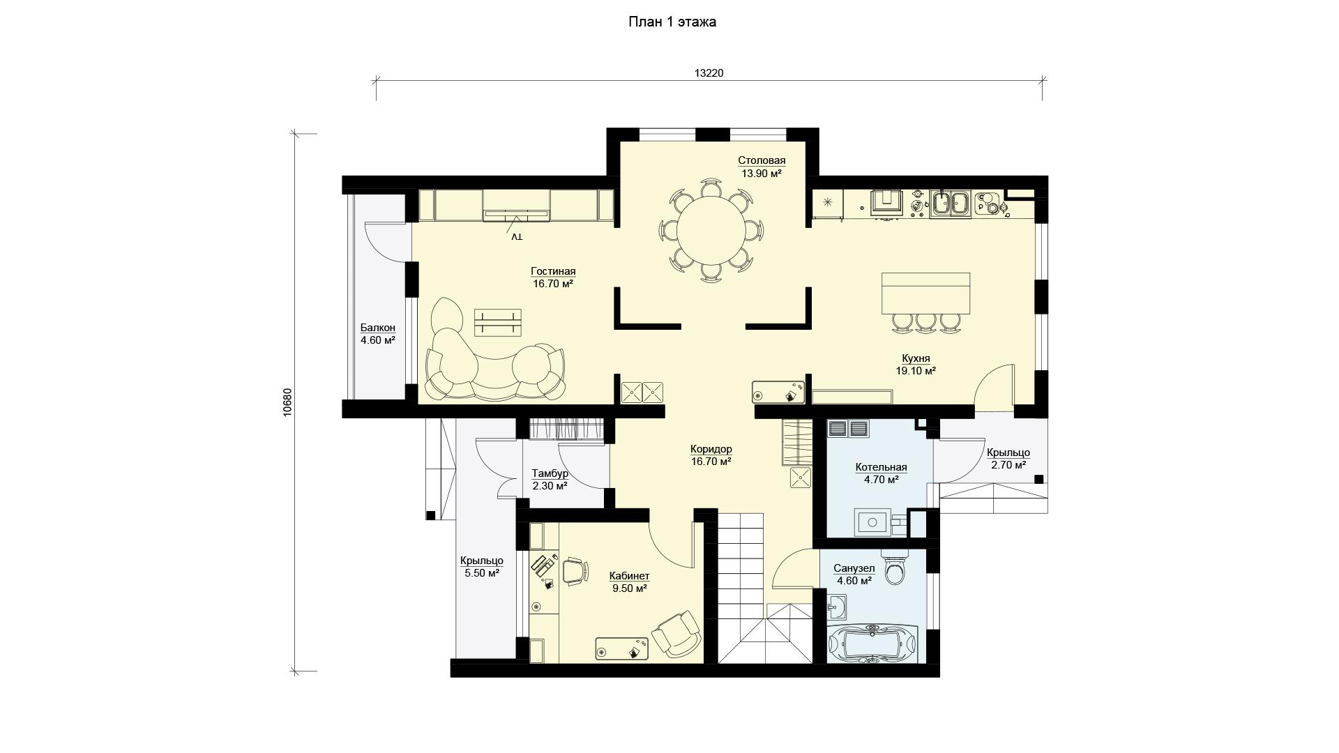План первого этажа двухэтажного загородного дома БЭНПАН, проект МС-253/1.