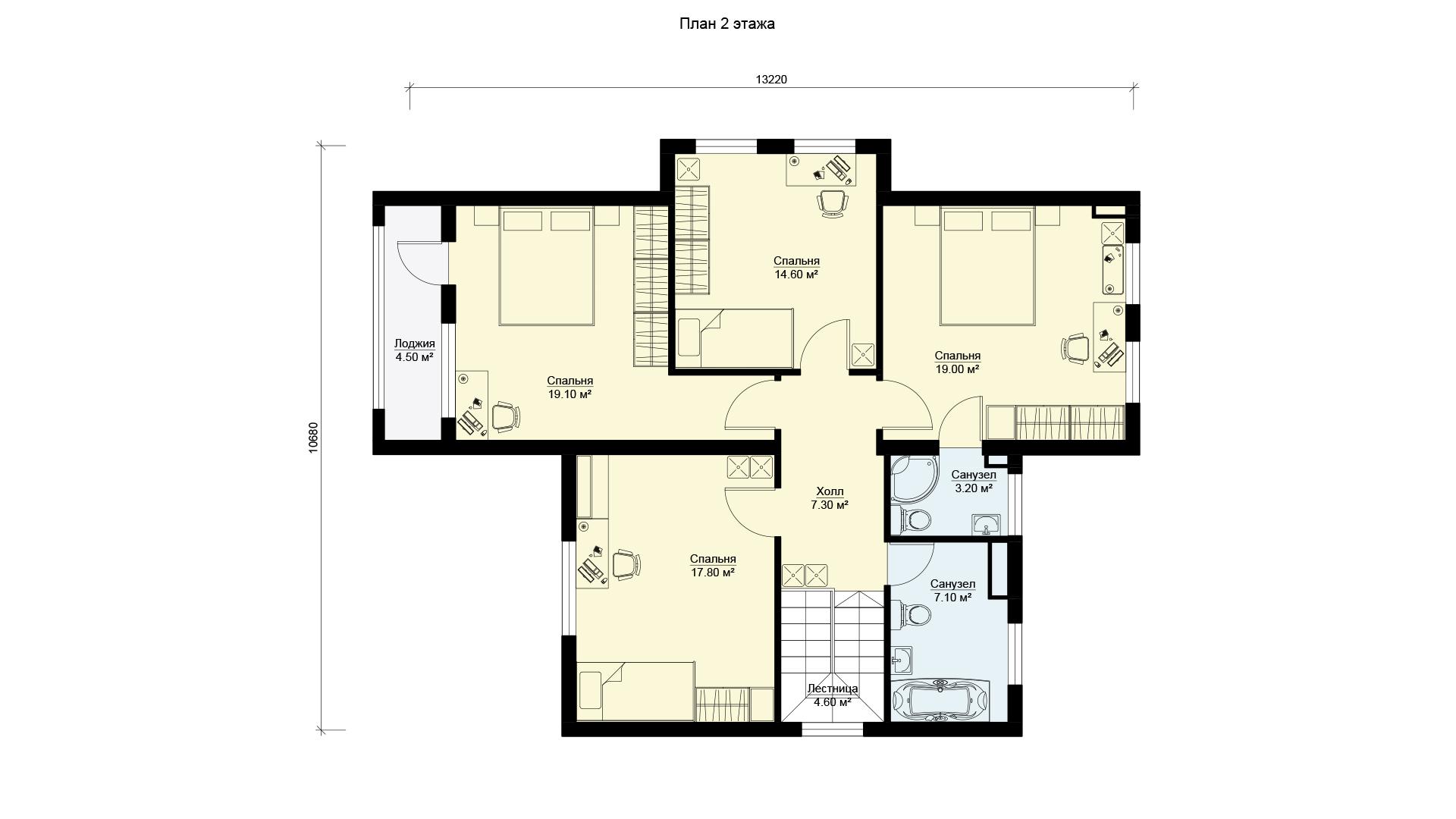 План второго этажа двухэтажного загородного дома БЭНПАН, проект МС-253/1.