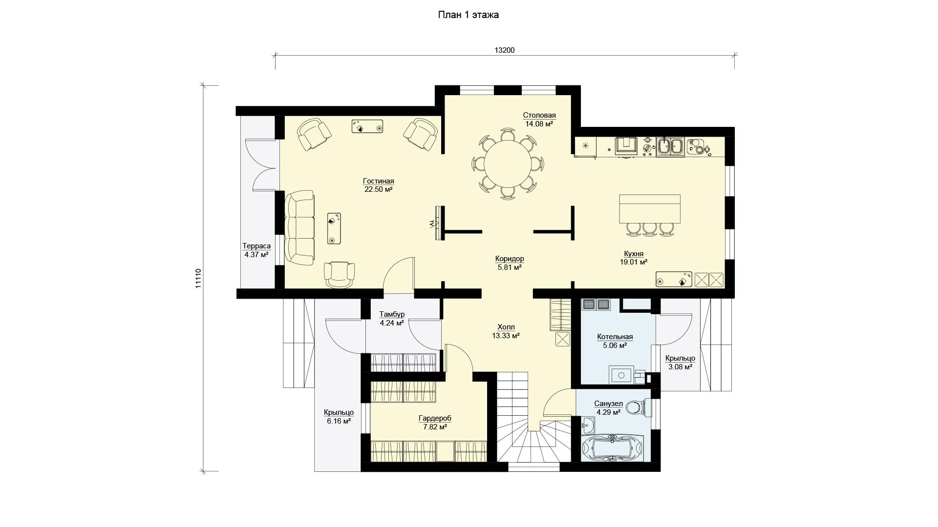 План первого этажа двухэтажного коттеджа БЭНПАН, проект МС-253.
