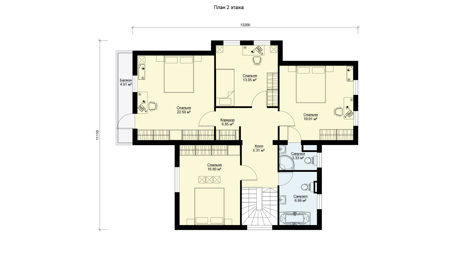 План второго этажа двухэтажного коттеджа БЭНПАН, проект МС-253.