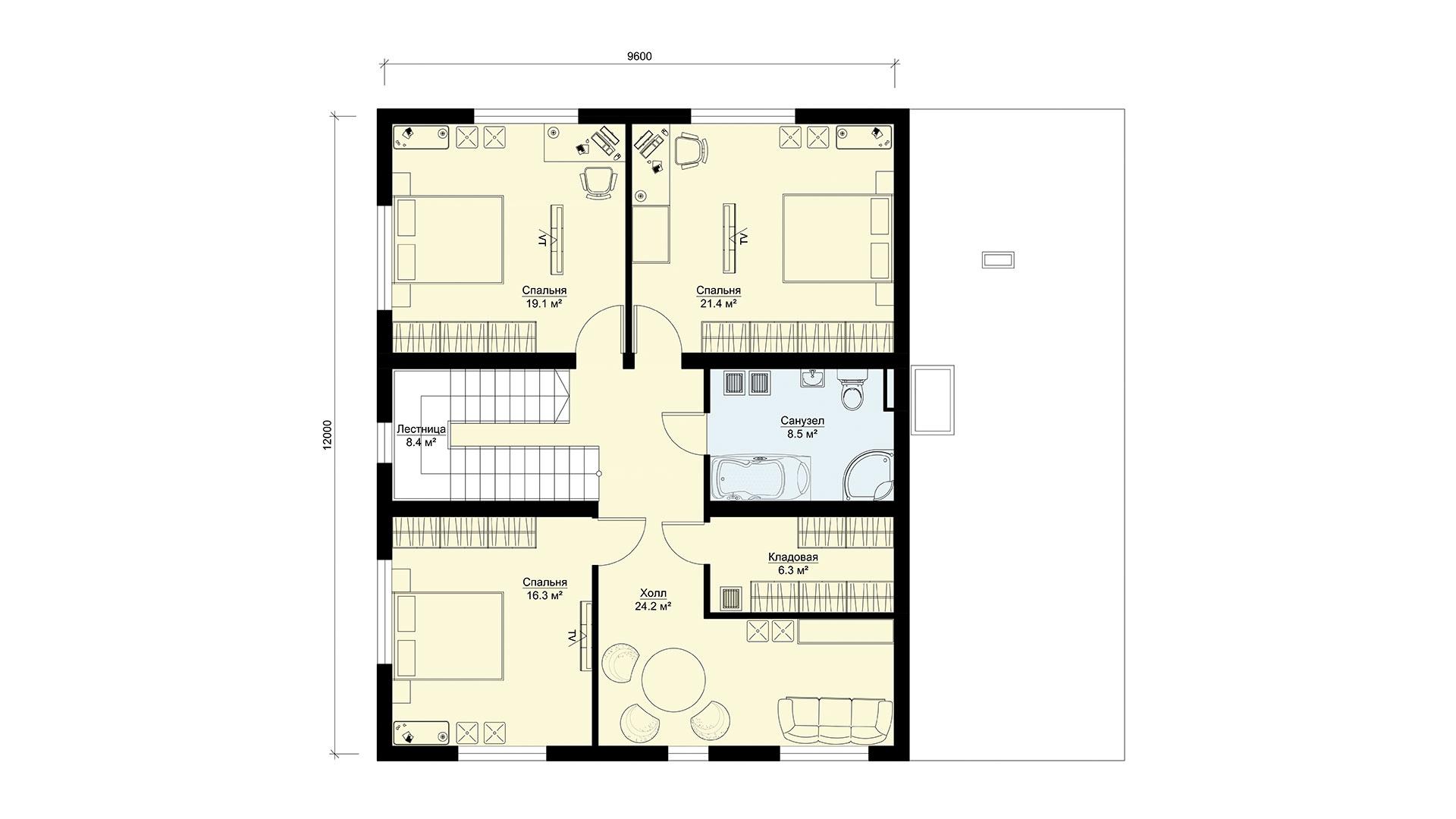 План второго этажа двухэтажного загородного дома БЭНПАН, проект МС-255.