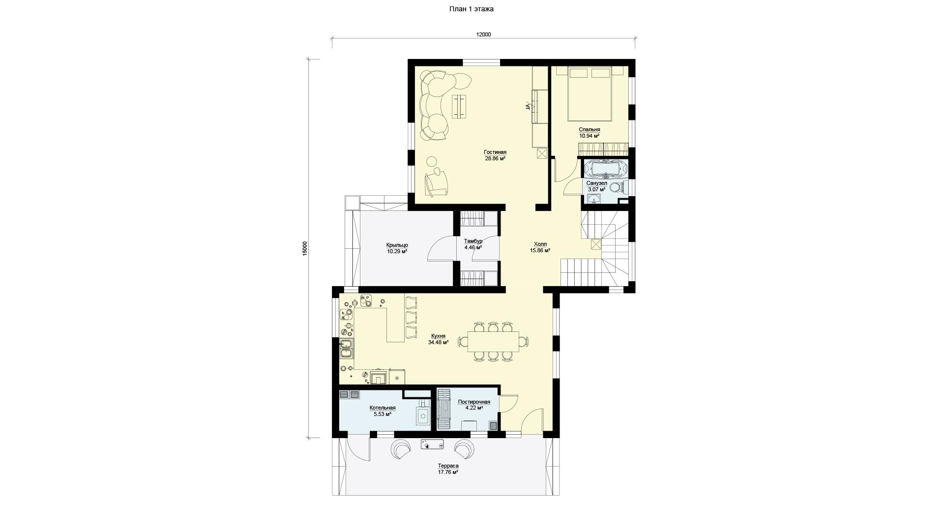 План первого этажа двухэтажного шестикомнатного дома с террасой и балконом, проект БЭНПАН МС-296.