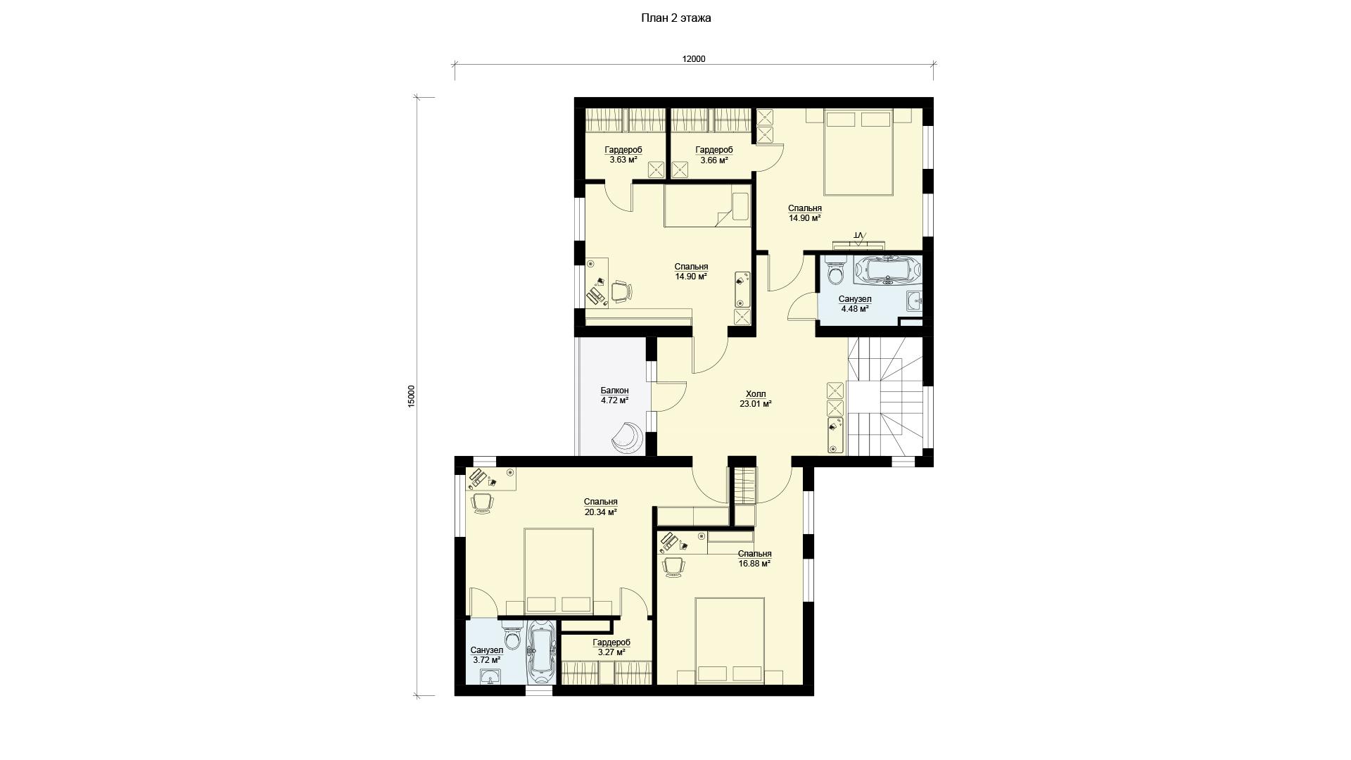 План второго этажа двухэтажного шестикомнатного дома с террасой и балконом, проект БЭНПАН МС-296.