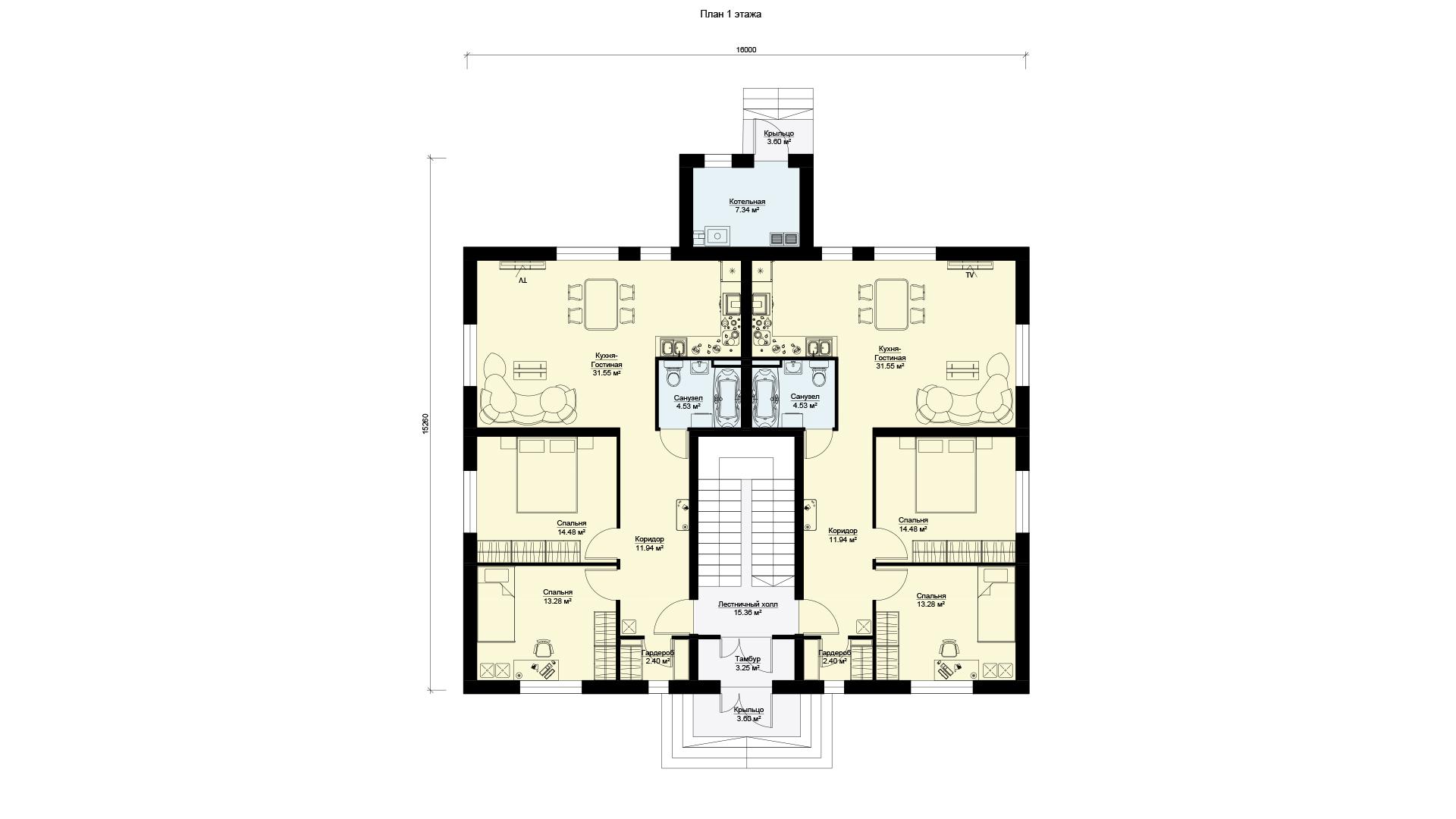 Планировка первого этажа проекта МС-346 - дома на 4 квартиры.