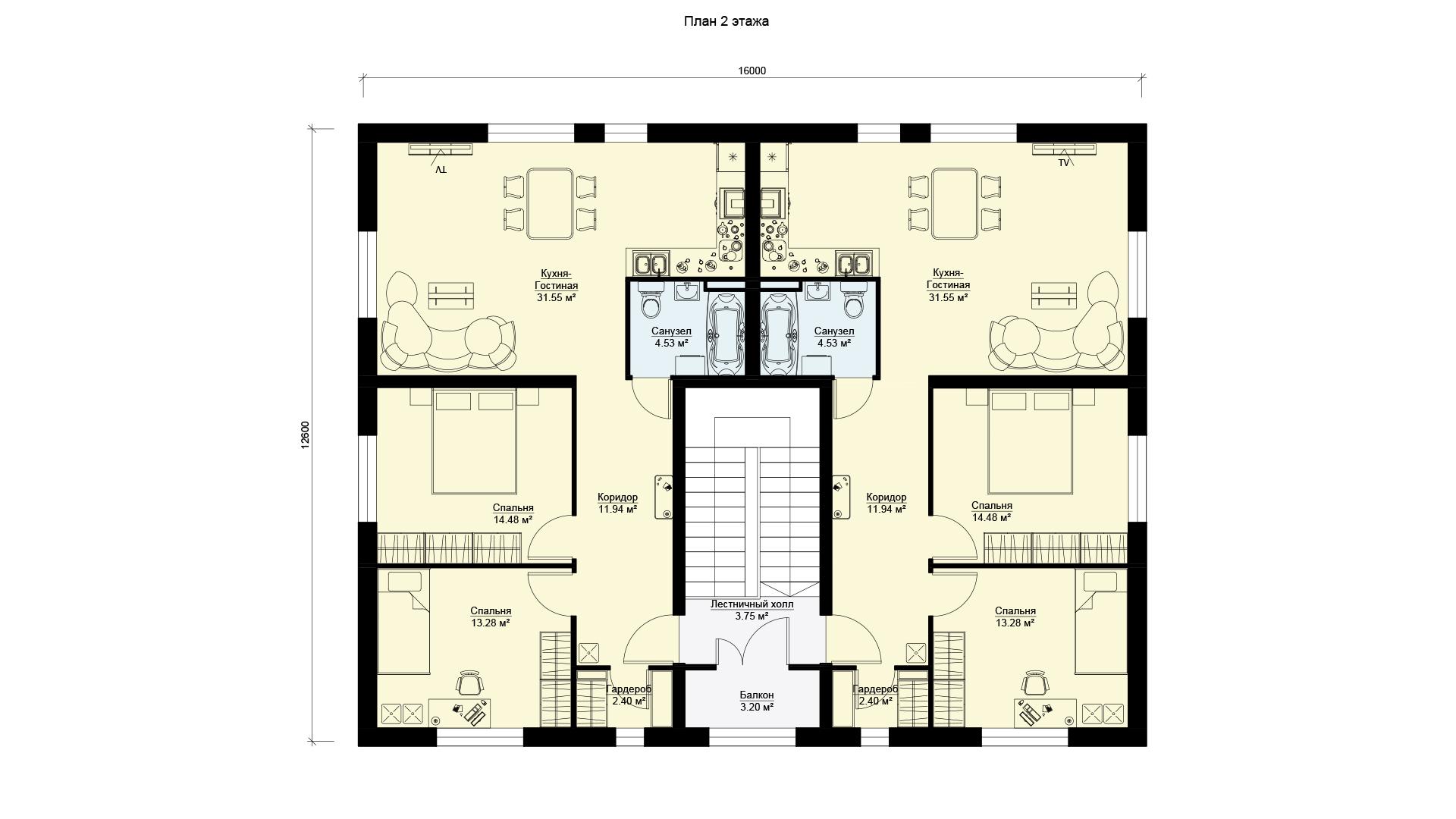 Планировка второго этажа проекта МС-346 - дома на 4 квартиры.
