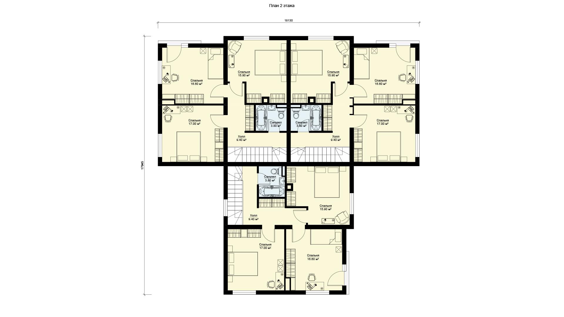 Планировка второго этажа проекта МС-472.