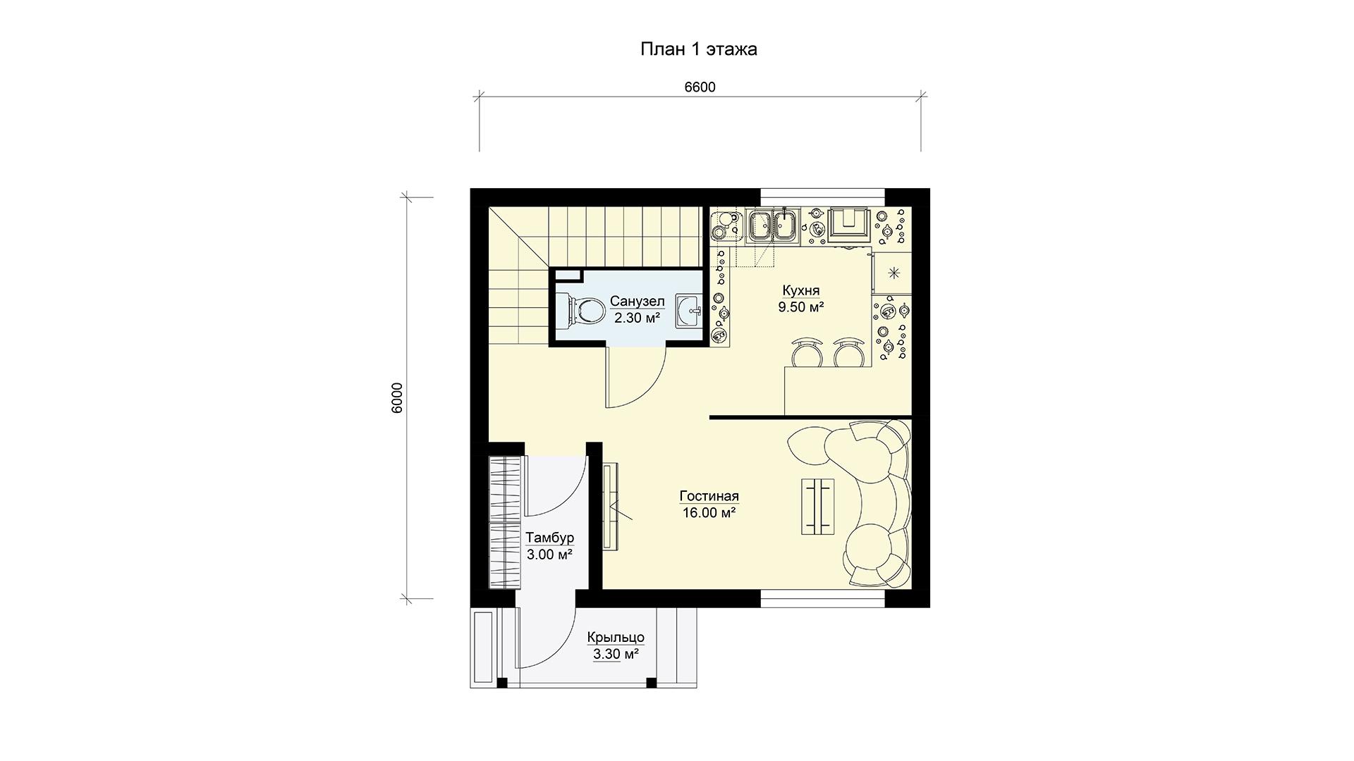 План первого этажа двухэтажного дома БЭНПАН, проект МС-69.