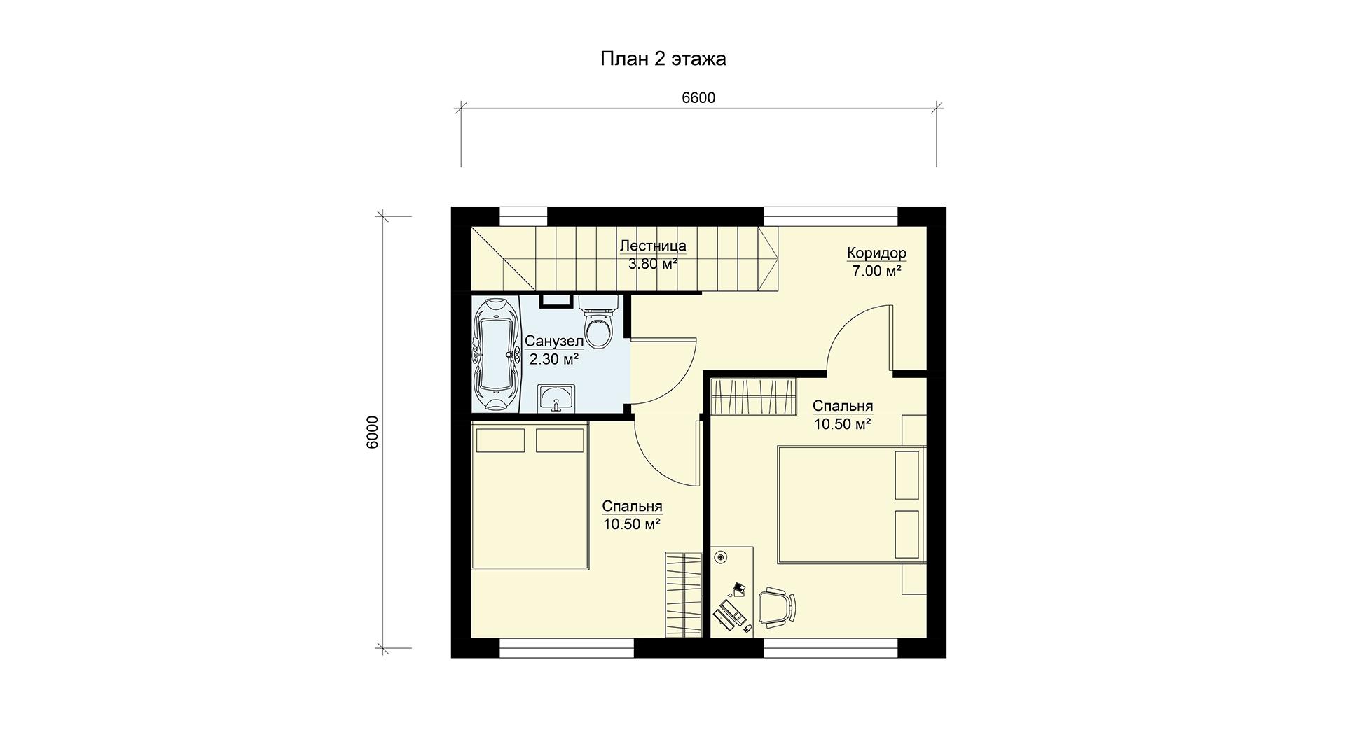 План второго этажа двухэтажного дома БЭНПАН, проект МС-69.