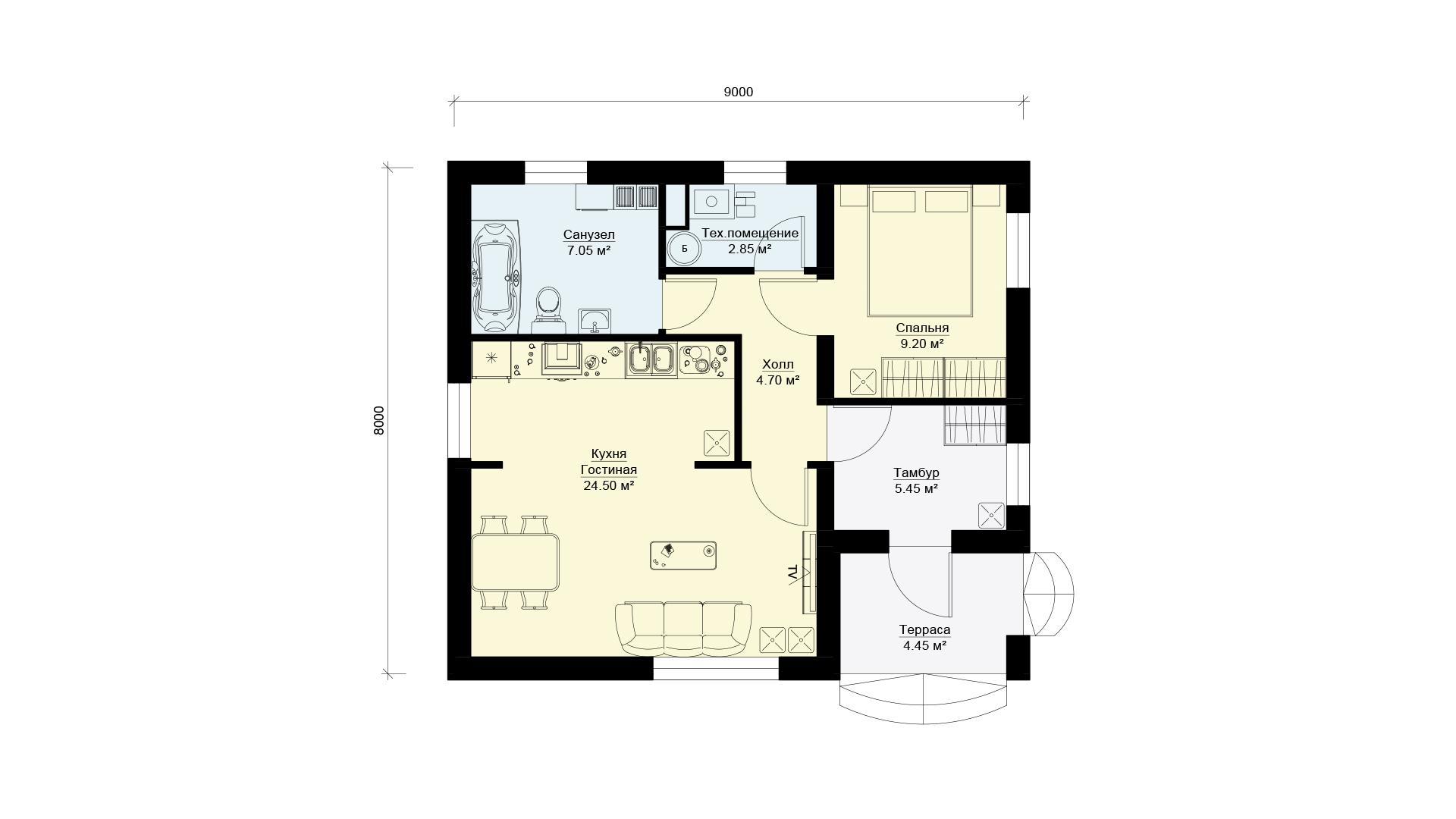 Планировка одноэтажного загородного дома БЭНПАН, проект МС-72.