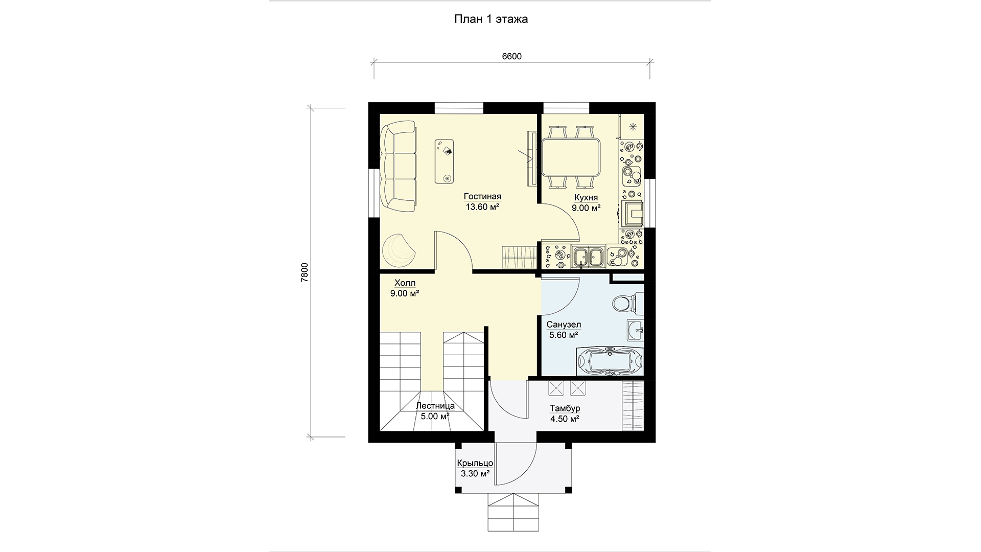 План первого этажа небольшого двухэтажного дома, проект БЭНПАН МС-92.