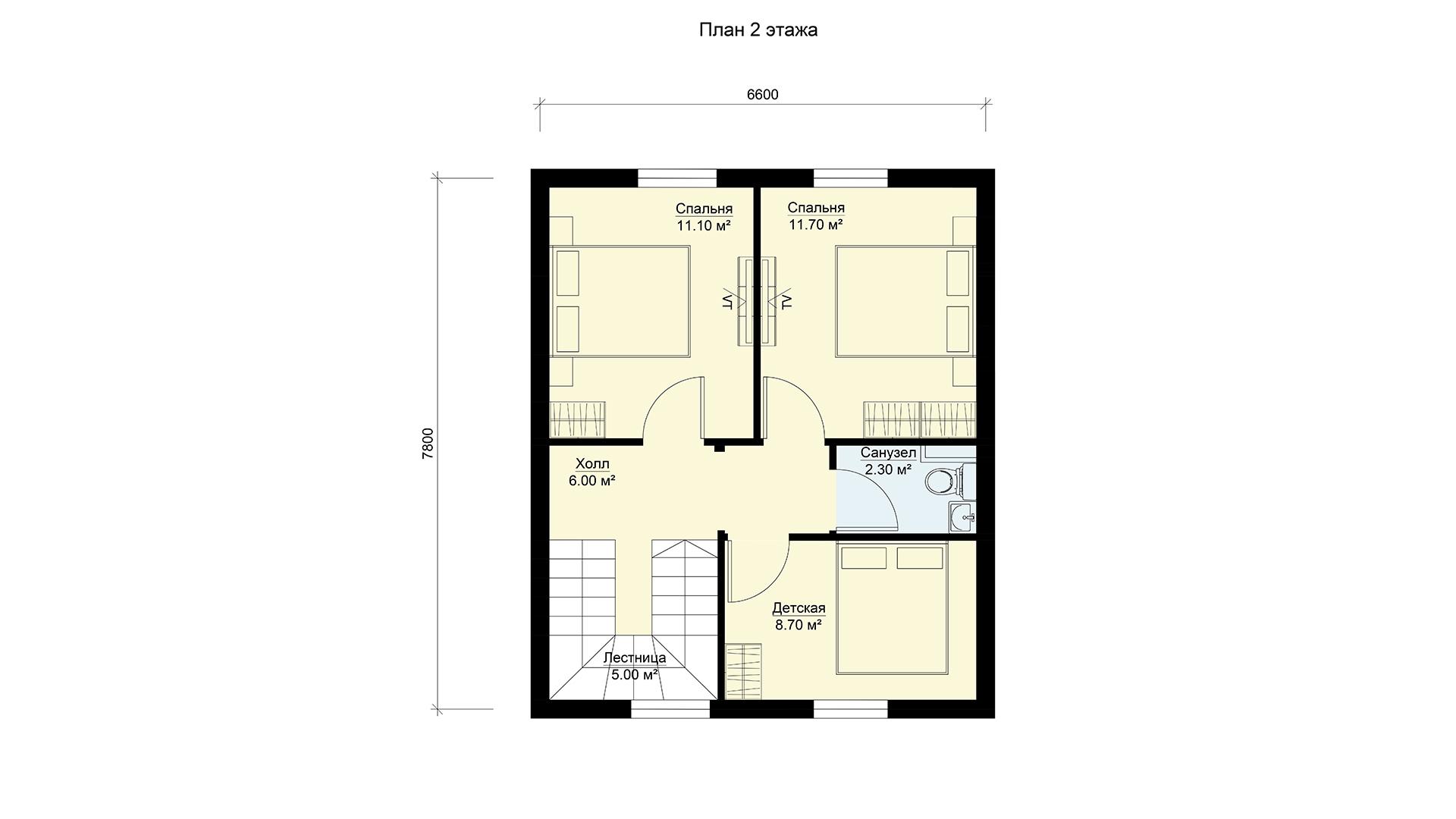 План мансардного этажа небольшого двухэтажного дома, проект БЭНПАН МС-92.
