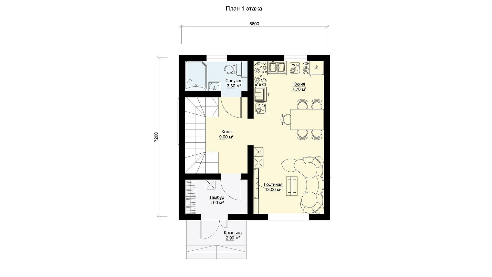План первого этажа двухэтажного дома 6 на 7 двухэтажного, проект БЭНПАН МС-95/1.