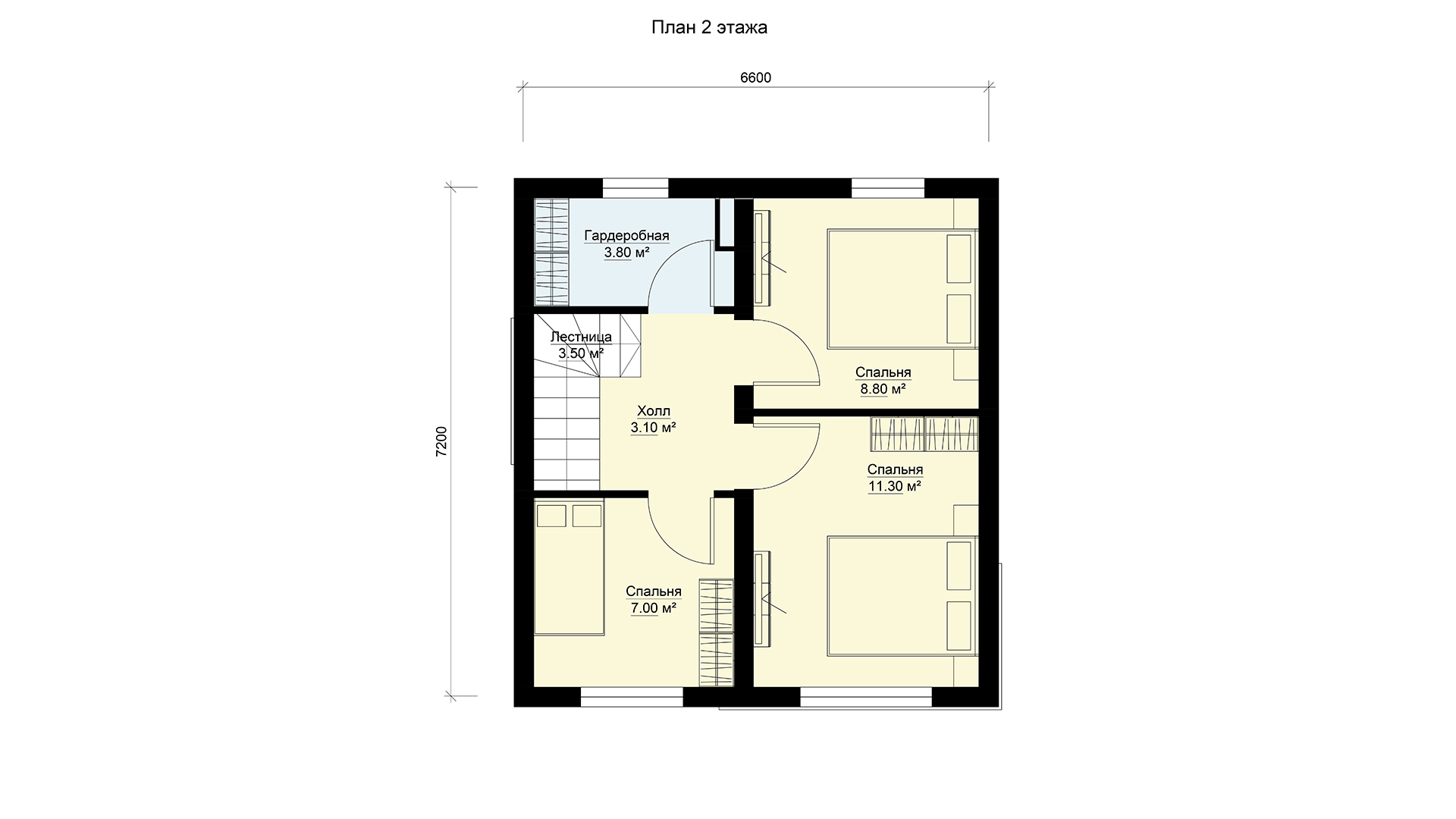 План мансардного этажа дома 6 на 7 двухэтажного, проект БЭНПАН МС-95/1.
