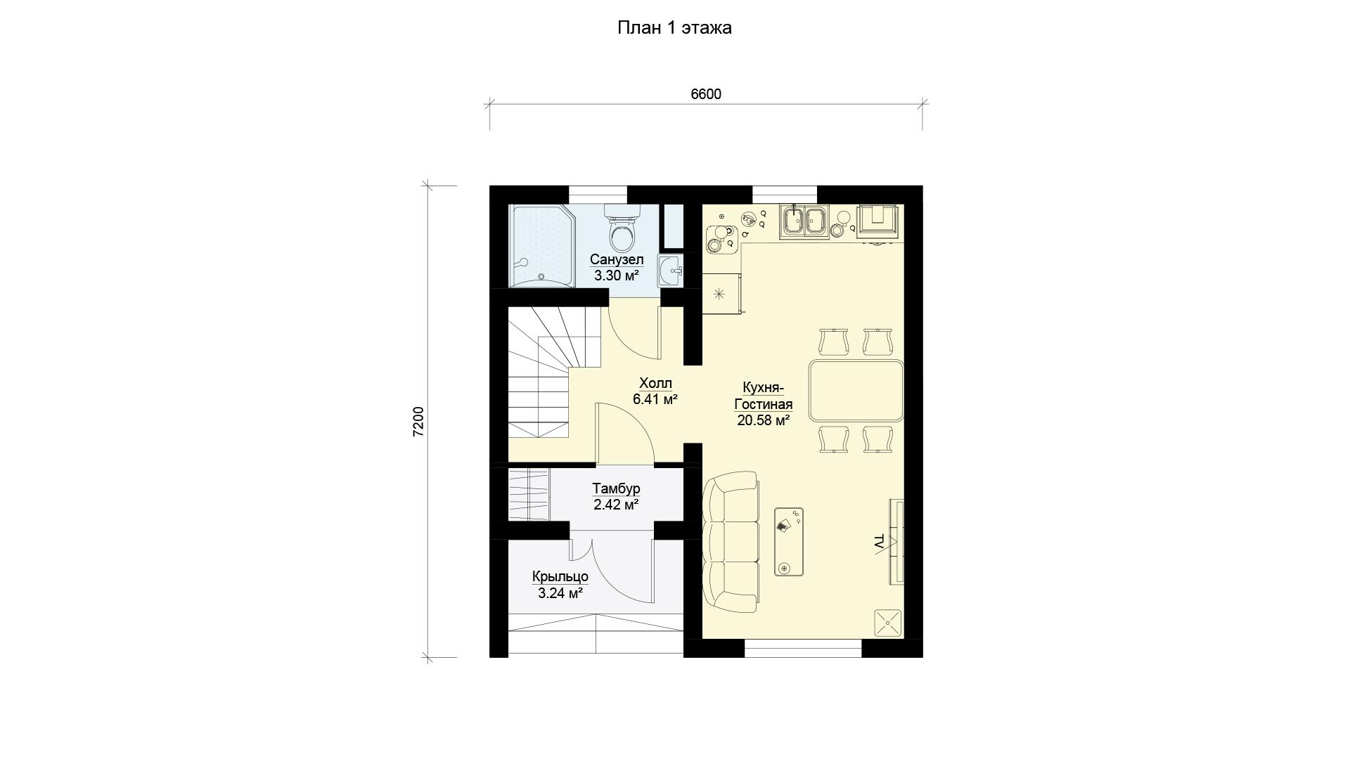 План первого этажа двухэтажного загородного дома с двумя спальнями и балконом, проект БЭНПАН МС-95.