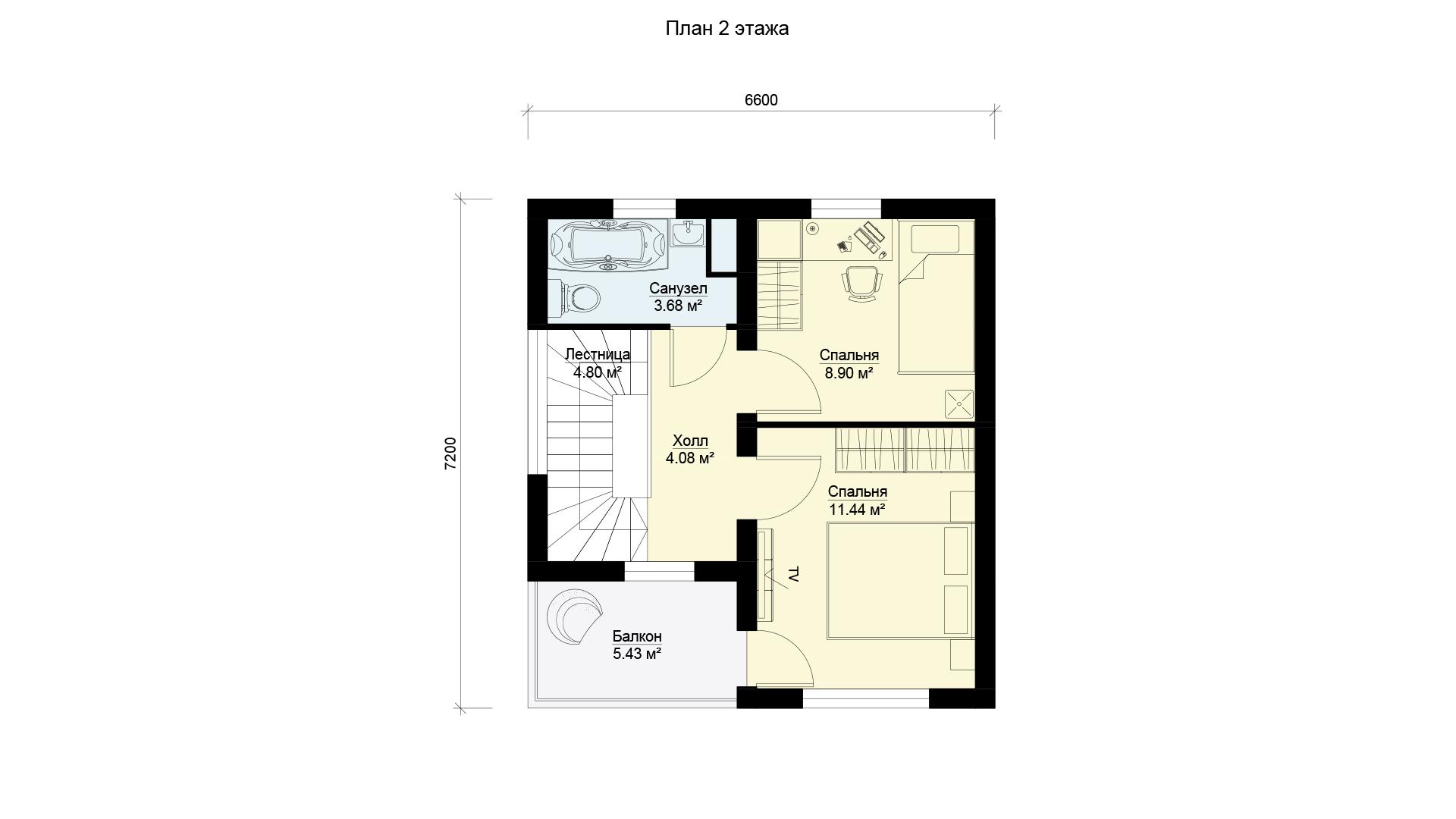 План второго этажа двухэтажного загородного дома с двумя спальнями и балконом, проект БЭНПАН МС-95.