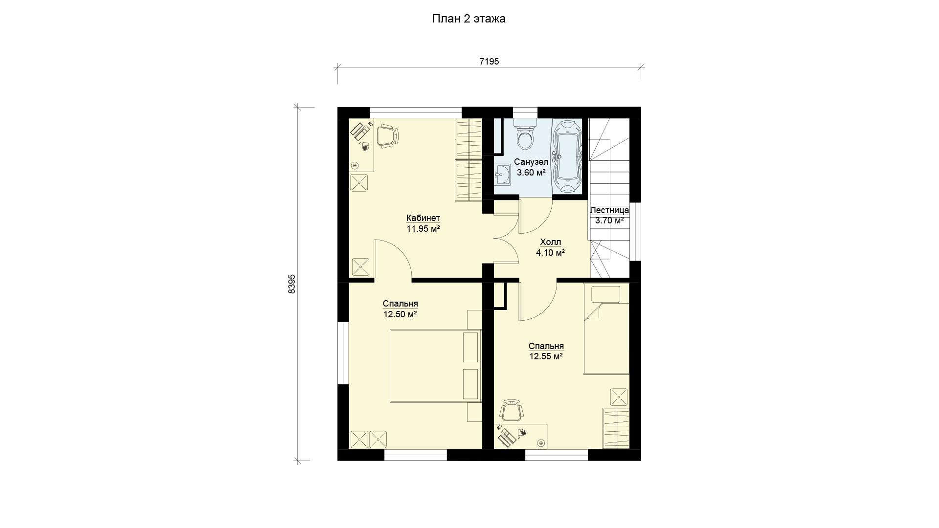 План второго этажа двухэтажного дома, проект БЭНПАН МС-97.