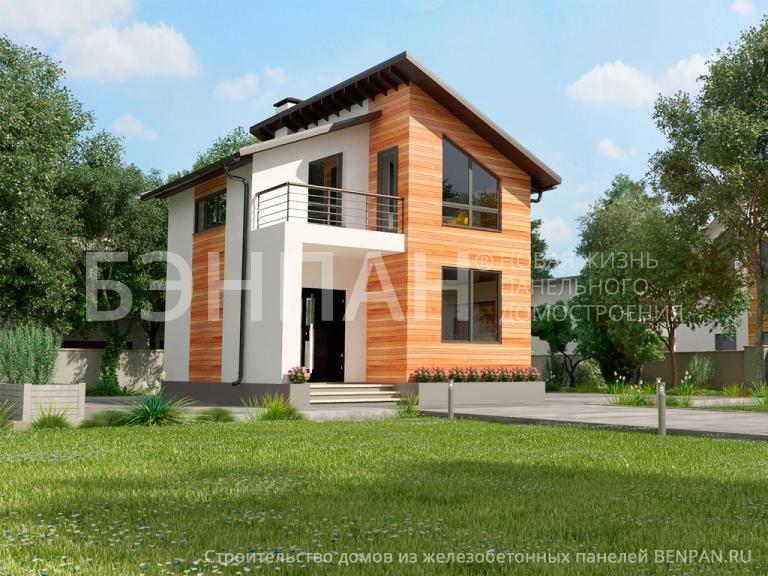 Компактный двухэтажный дом МС-95, отделка фасада - планкен и штукатурка