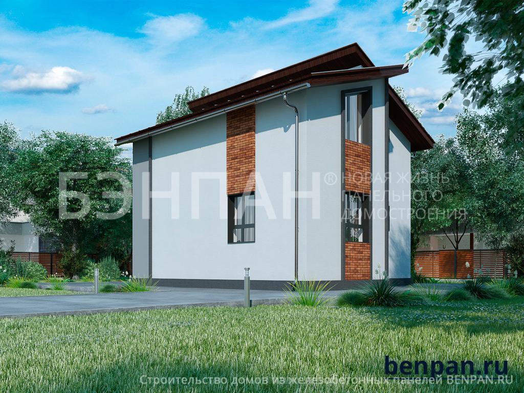 Фото дом с мансардой 81.60м2, этажа 2, комнаты 4, проект для загородного дома