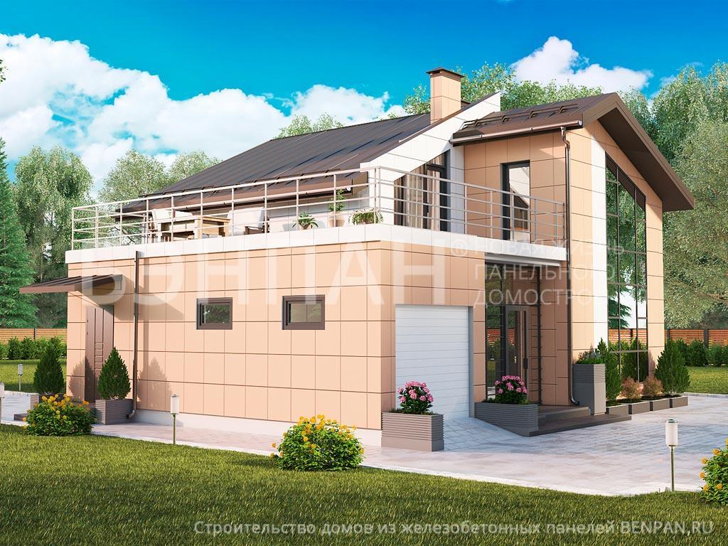 Фото дом с мансардой 159.65м2, этажа 2, комнаты 4, проект для загородного дома