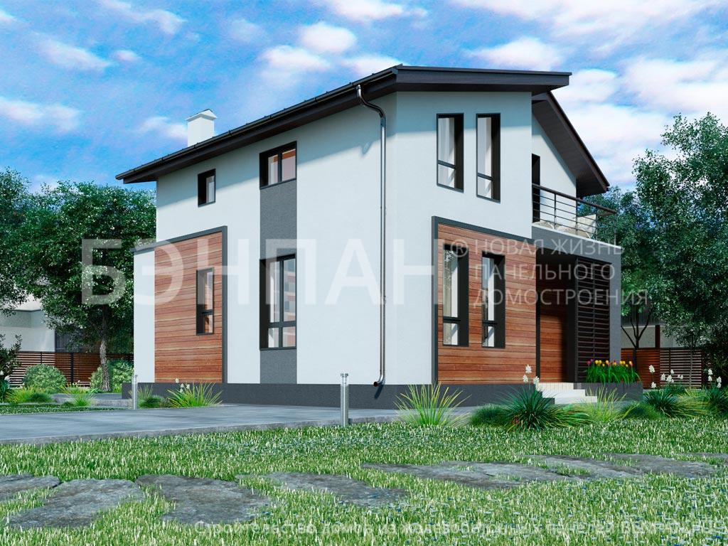 Фото дом с мансардой 98.10м2, этажа 2, комнаты 4, проект для загородного дома