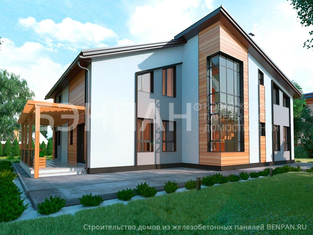 Фото дом с мансардой 216.38м2, этажа 2, комнаты 6, проект для загородного дома