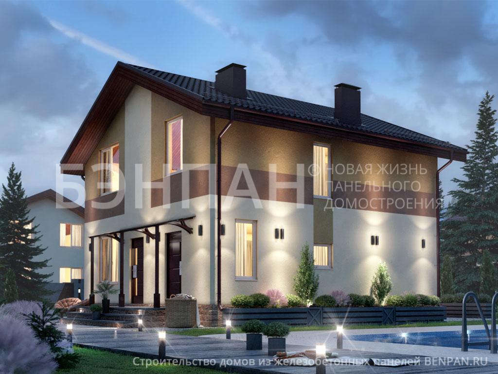 Фото дом со спальней на первом этаже, дом со спальней на первом этаже 128.70м2, проект для коттеджа