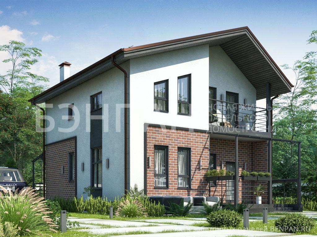 Фото дом со вторым светом 111.62м2, этажа 2, комнаты 4, проект для загородного дома
