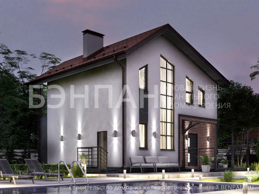 Фото дом с балконом, дом с терассой на первом этаже 111.62м2, проект для коттеджа