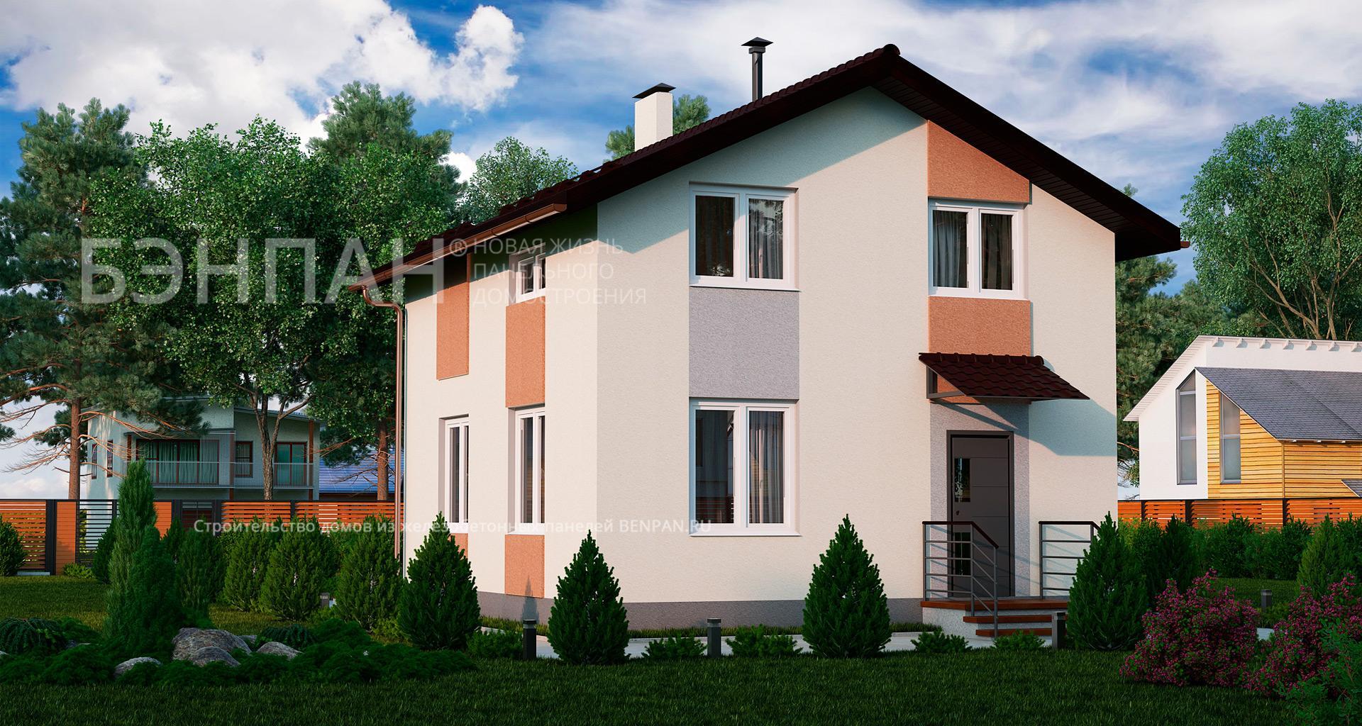 Фото дом с мансардой 92.55м2, этажа 2, комнаты 4, проект для загородного дома